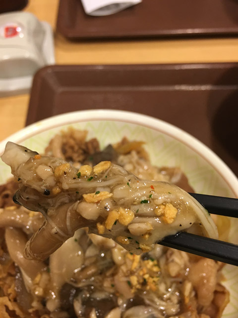 きのこペペロンチーノ牛丼